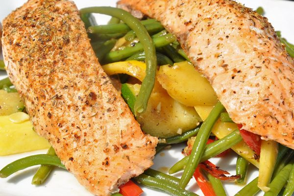 Grilled Atlantic Salmon Over Sauteed Vegetables